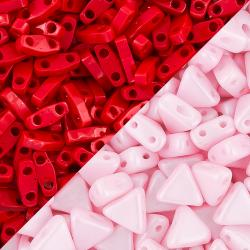 Pink and Red Seed Beads