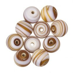 Zebra Stripe Brown Round Glass Bead 10mm PK10