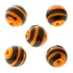 Spiral Pattern Orange Round Glass Bead 12mm PK5