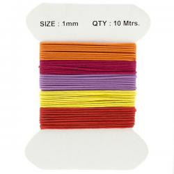 Waxed Cotton Cords 1mm Red/Purple And Yellow Mix 10m