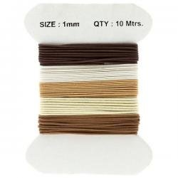 Waxed Cotton Cords 1mm Brown/Cream And White Mix 10m