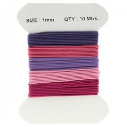 Waxed Cotton Cords 1mm Pretty Pink And Purple Mix 10m