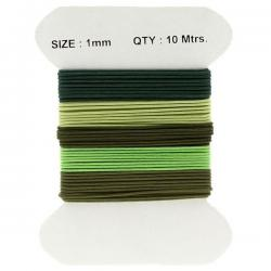 Waxed Cotton 1mm Jewellery Cords In Earthy Greens 10m