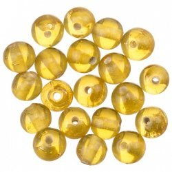 Transparent Gold Round Glass Beads 6mm (PK20)