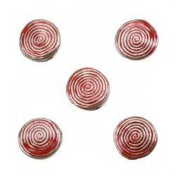 Enamelled Hypnotic Swirl Red Round Metal Bead 19mm PK5