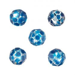 Hand Painted Blue Spotted 14mm Faceted Glass Beads PK5