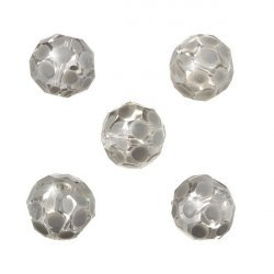 Grey Hand Painted Spotted 14mm Faceted Glass Beads PK5