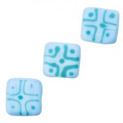 Chunky Matte Light Blue Square Glass Beads 16x7mm PK3