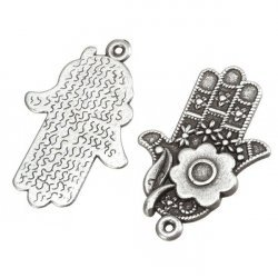 Antique Silver Hamsa Hand Charm Pendants 29mm (PK2)
