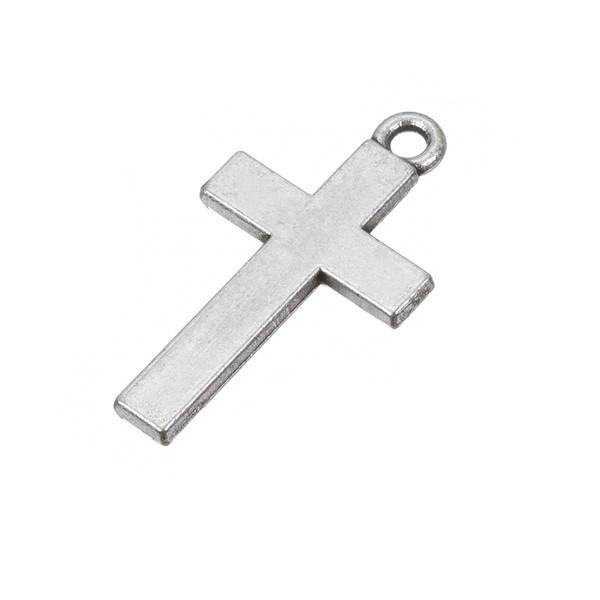 Large Antique Silver Cross Charm Pendant 30x16mm (PK1)