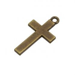 Large Antique Brass Cross Charm Pendant 30x16mm (PK1)