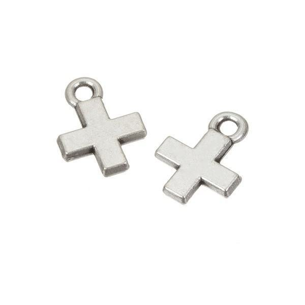 Small Antique Silver Cross Charm Pendants 15x11mm (PK2)