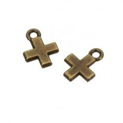Small Antique Brass Cross Charm Pendants 15x11mm (PK2)