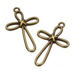 Antique Brass Cross Charm Pendants 22x35mm (PK2)