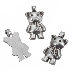 Antique Silver Teddy Bear Metal Charm Pendants 17mm PK3