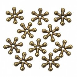 Antique Brass Snowflake Spacer Metal Beads 11mm PK10