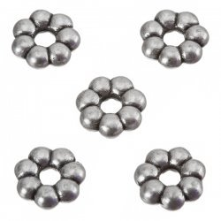 Antique Silver Flower Spacer Small Metal Beads 8mm PK5