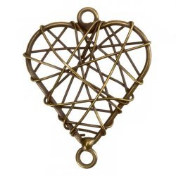 Antique Brass Wire Heart Metal Charm Pendants 38mm PK1