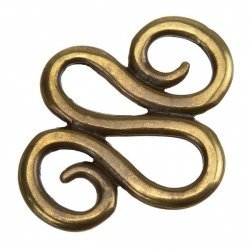 Antique Brass Swirl Metal Jewellery Component 31mm PK1