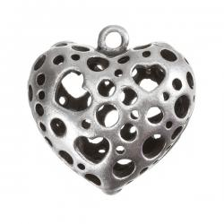 Antique Silver Cut-Out Cast Heart Charm Pendant PK1