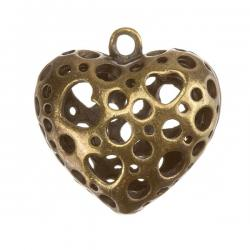 Antique Brass Cut-Out Heart Metal Charm Pendants PK1
