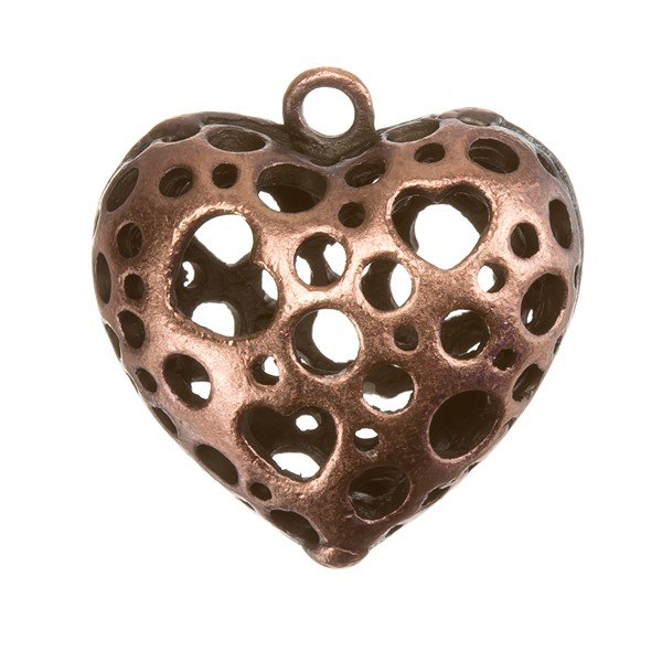 Antique Copper Cut-Out Heart Metal Charm Pendants PK1