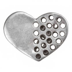 Antique Silver Cast Holed Heart Metal Charm Pendant PK1