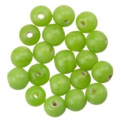 Shiny Light Green Round Glass Bead 6mm PK20