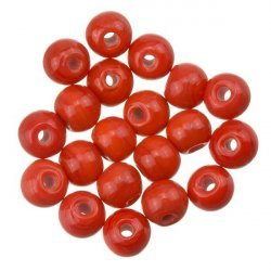 Shiny Red Round Glass Bead 6mm PK20