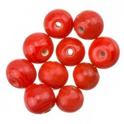Shiny Red Round Glass Beads 8mm PK10