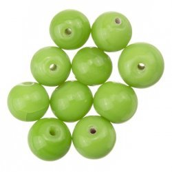 Shiny Green Round Glass Beads 8mm PK10