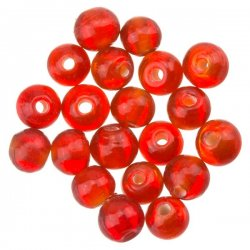 Transparent Red Round Glass Beads 6mm PK20