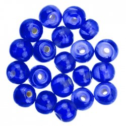 Transparent Dk Blue Handmade Round Glass Beads 6mm PK20