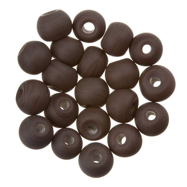 Matt Dark Brown Round Glass Beads 6mm PK20