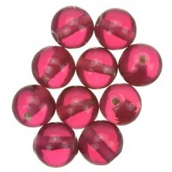 Transparent Rose Pink Round Glass Beads 10mm PK10
