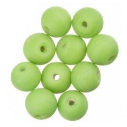 Matte Green Round Glass Beads 10mm PK10