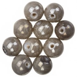 Shiny Metallic Grey Round Glass Beads 12mm PK10