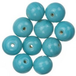 Shiny Turquoise Round Glass Beads 12mm PK10