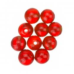 Transparent Red Round Glass Beads 8mm PK10