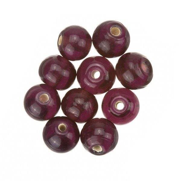 Transparent Violet Round Glass Beads 8mm PK10
