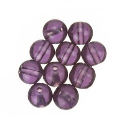 Transparent Lilac Round Glass Bead 8mm PK10