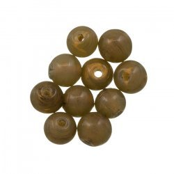 Handmade Transparent Taupe Round Glass Beads 8mm (PK10)