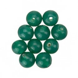 Transparent Green Round Glass Beads 8mm PK10