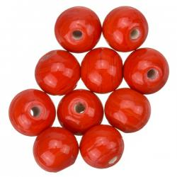 Shiny Red Round Glass Beads 10mm PK10