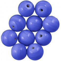 Shiny Medium Blue Round Glass Beads 14mm PK10