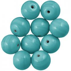 Shiny Teal Round Glass Bead 14mm PK10