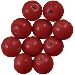 Shiny Red Round Glass Beads 14mm PK10
