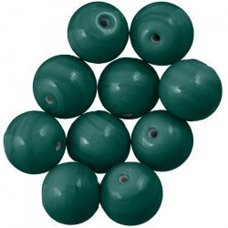 Shiny Green Round Glass Beads 14mm PK10