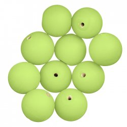 Matte Lime Green Handmade Round Glass Beads 14mm (PK10)