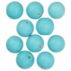 Turquoise Matte Round Glass Bead 14mm PK10